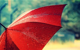 Preview wallpaper Red umbrella, after rain, water drops