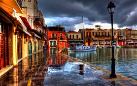 Preview wallpaper Rethymno, Greece, houses, street, boats, HDR style