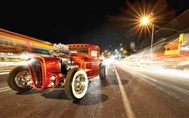 Retro car, road, night