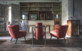 Aperçu fond d'écran Style rétro, chaise, livres, TV