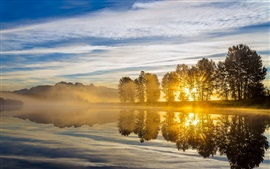 River, sunrise, trees, clouds, sun rays, morning, fog