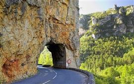Carretera, arco, túnel, montaña, acantilado