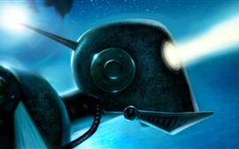 Preview wallpaper Robot, eye, rays