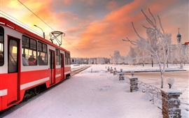 Санкт-Петербург, Россия, трамвай, зима, снег
