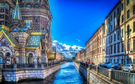 Preview wallpaper Saint Petersburg, street, houses, river, HDR style