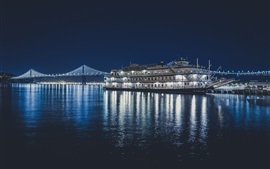 Preview wallpaper San Francisco Belle ship, sea, bridge, night, lights