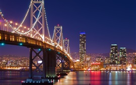 Preview wallpaper San Francisco, bridge, lights, river, night, USA