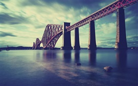Escocia, Forth Rail Bridge, mar, ferrocarril