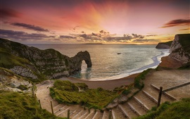 Preview wallpaper Sea, coast, arch, beach, ladder, sunset