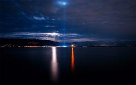 Море, ночь, город, огни, небо, облака