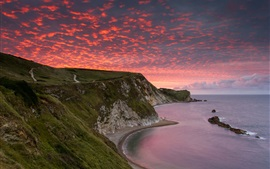 Sea, red sky, clouds, sunset, coast, beach, mountains