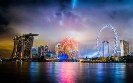 Singapore, city night, fireworks, sea, ferris wheel, skyscrapers, lights