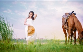 Preview wallpaper Smile Asian girl, white dress, hat, brown horse
