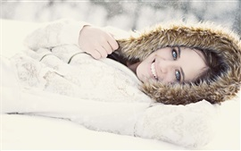 Preview wallpaper Smile girl, winter, snow, coat