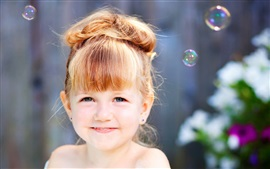 Preview wallpaper Smile little girl, soap bubbles
