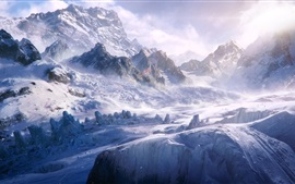 Preview wallpaper Snow, mountains, cold, wind