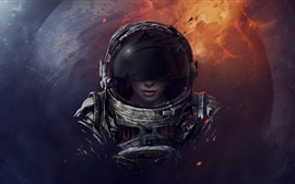 Preview wallpaper Space, astronaut, girl