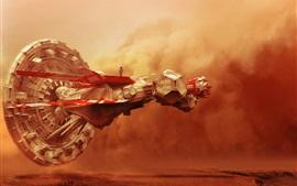 Nave espacial, nubes, desierto, diseño creativo