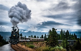 Preview wallpaper Steam train, smoke, bridge, clouds