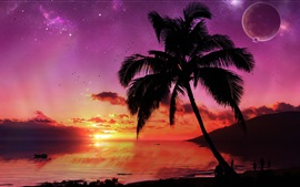 Sunset palm trees, sea, red sky, planet
