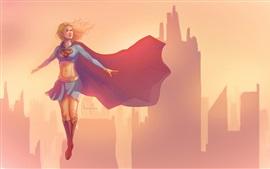 Supergirl, volando, viento, ciudad, cuadro de arte