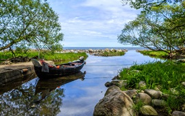 Sweden, bay, boat, trees, stones, sea