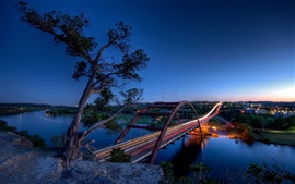 Preview wallpaper Texas, Austin, Pennybacker Bridge, river, city, light, USA