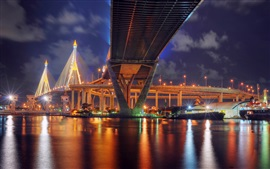 Thailand, Bangkok, city bridge, lights, river, night