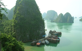 Aperçu fond d'écran Thaïlande, bateaux, jetée, îles, matin