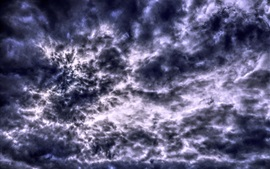Preview wallpaper Thick clouds, sky, glare