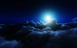 Nuvens espessas, céu, sol