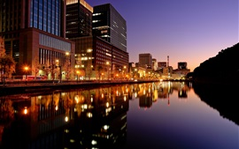 Preview wallpaper Tokyo, city night, buildings, lights, river, Japan