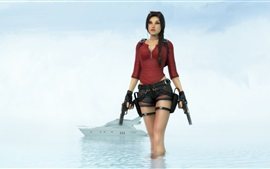 Preview wallpaper Tomb Raider, Lara Croft, sea, boat