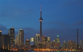 Preview wallpaper Toronto, Canada, buildings, lights, city, night, tower