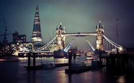 Preview wallpaper Tower Bridge, river, boats, night, city, London