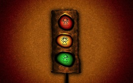 Preview wallpaper Traffic light, red yellow and green