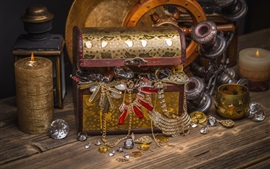 Caja de tesoro, joyas, decoración, vela