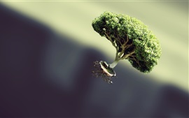 Preview wallpaper Tree flying, hut, creative picture
