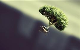 Дерево летает, хижина, творческая картина