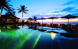 Tropics, resort, pool, palm trees, sea, sunset