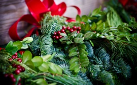 Preview wallpaper Twigs, berries, leaves, Christmas decoration
