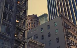 EUA, cidade, arranha-céus, crepúsculo