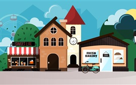 Vector picture, art, home, street, shops