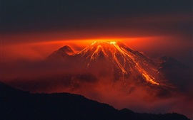 Preview wallpaper Volcano, mountain, lava, night
