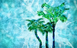Watercolor painting, palm trees