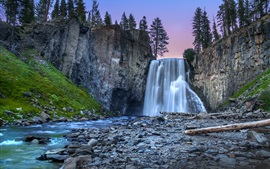Waterfall, cliffs, rocks, trees, dusk