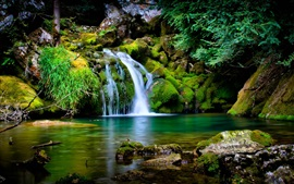 Preview wallpaper Waterfall, moss, stones, nature