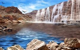 Водопады, озеро, птицы, орел, камни
