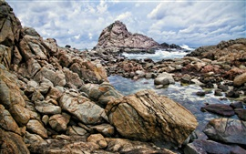 Preview wallpaper Western Australia, Leeuwin-Naturaliste National Park, stones, clouds