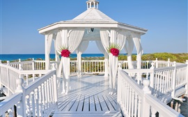 Preview wallpaper White gazebo, wedding, sea, summer